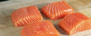 Filet of salmon in pieces